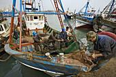 Agadir, Morocco, port:  trawlers, maintenance