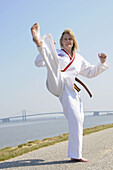 woman practice karate routine