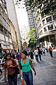 Shopping district, Street scene, rua direita, Sao Paulo, Brazil