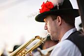 Brass band, Midsummer Festival, Muensing, Bavaria, Germany