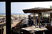 Beachrestaurant in the sunlight, Agadir, South Morocco, Morocco, Africa