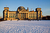 Reichstag building in winter with snow,   outdoors , Berlin, Germany, Europe
