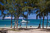oeffentlicher Strand am  Pointe aux Cannoniers, Kasuarina Baeume,  Mauritius, Afrika