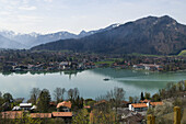 View over lake Tegernsee from Hotel Leberghof, view of Rottach-Egern, Upper Bavaria, Bavaria, Germany