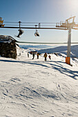 Reinswald Skiing area, ski lift, Sarn valley, South Tyrol, Italy