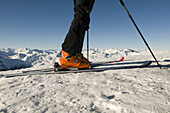 Alpine skiing, ski touring equipment, back country skiing equipment, Reinswald Skiing area, Sarn valley, South Tyrol, Italy