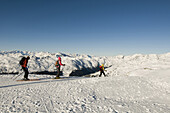 Alpine ski touring group, back country skiing equipment, Reinswald Skiing area, Sarn valley, South Tyrol, Italy