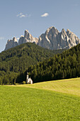 Baroque church St. Johann in Ranui (1744), Villnoess valley, Dolomites, Geisler Group, South Tyrol, Italy