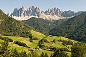 Mountain landscape and mountain village St. Magdalena, Villnoess valley, Dolomites, Geisler Group, South Tyrol, Italy