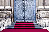 Ceremonies, Ceremony, Church, Churches, Closed, Color, Colour, Concept, Concepts, Daytime, Decorated, elegance, elegant, Entrance, Entrances, Entries, Entry, exterior, Ornate, outdoor, outdoors, outside, red carpet, Step, Steps, D56-720922, agefotostock
