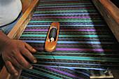 GUATEMALA  Gabriel Perez, native Guatemalan weaver, at work  Detail   Santa Catarina Palopo, on Lake Atitlan