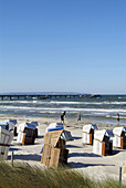 D, Germany, Mecklenburg Western Pomerania, Rügen, Ruegen, Isle, Baltic Sea, Binz, Beach, Beach Chairs, Sea, Surf, Tourists, Persons, Sea Bridge, Spring, Springtime