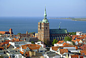 D, Germany, Europe, Mecklenburg Western Pomerania, Stralsund, Strelasund, Baltic Sea, Landscape, Panorama, Old Town, Architecture, Building, Buildings, urban, City, Viewpoint