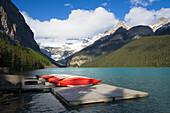 Canoes & lake, Lake Louise, Banff National Park, Alberta, Canada