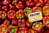 Red peppers. San Miguel market, Madrid, Spain