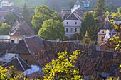 View over village & fortified church, Biertan, Transylvania, Romania