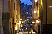 View to Sodermalm from the narrow streets of Gamla Stan, Stockholm, Sweden