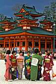 women kimono dressed in front of the Henian temple in Kyoto