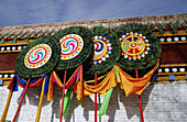 Asia, Asian, Asians, Banner, Banners, Believe, Buddha, Buddhism, Buddhist, Buddhists, China, Chinese, Color, Colour, Flag, Flags, Gansu, Kansu, Lamaseries, Lamasery, Monasteries, Monastery, Place, Places, Prayer, Prayer flag, Prayer flags, Religion, Relig
