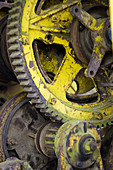 Aged, Close up, Close-up, Closeup, Cog, Cogs, Cogwheel, Cogwheels, Color, Colour, Concept, Concepts, Daytime, detail, details, exterior, Gear, Gears, Industrial, Industry, Mechanics, Mechanism, Mechanisms, Metal, Old, outdoor, outdoors, outside, Rust, Rus