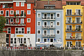 Colourful buildings on the riverbank, Kufstein, Tyrol, Austria