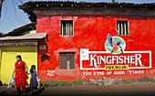Santa Cruz, near Panjim Goa, India, mural pubblicity of Kingfisher beer