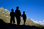 Mountaineers. Infant walkers in Les Ecrins National Park, Los Alpes, Briancon, France.