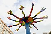 Colored hands sculpture in Castellon