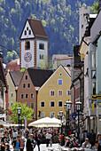 Pedestrian area in Old Town, Fuessen, Allgaeu, Swabia, Bavaria, Germany