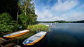 Boote am Seeufer, Werbellinsee, Eichhorst, Schorfheide, Brandenburg, Deutschland
