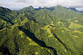 Aerial view of green mountains on the island, Rarotonga, Cook Islands, South Pacific, Oceania