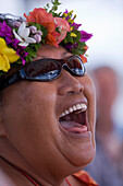 Laughing polynesian woman wearing a floral wreath, Raiatea, Society Islands, French Polynesia, South Pacific, Oceania