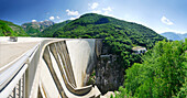 Panorama of the dam at lake Vogorno with Piz di Vogorno and power station, water power plant, Gordola, valley of Verzasca, Ticino, Switzerland