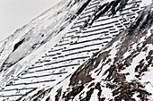 Mountain with avalanche barrier, Hintertux, Tyrol, Austria