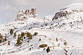 Snow-covered Cinque Torri, Dolomites, Veneto, Italy