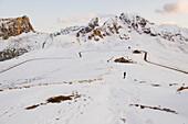 Snow-covered alpine hut near Giau Pass, Dolomites, Trentino-Alto Adige/Südtirol, Italy