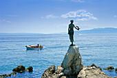Statue at the port entrance under blue sky, Opatija, Croatian Adriatic Sea, Istria, Croatia, Europe