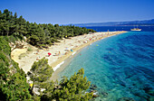 People on the beach on a tongue of land under blue sky, Golden Horn, Brac island, Croatian Adriatic Sea, Dalmatia, Croatia, Europe