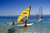 Sail boarder at Golden Horn under blue sky, Brac island, Croatian Adriatic Sea, Dalmatia, Croatia, Europe