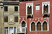 Venetian facades at the Old Town in the sunlight, Piran,  Adriatic Sea, Istria, Slovenia, Europe