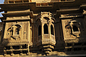 Magnificent architecture in the old and narrow streets of Jaisalmer, Rajasthan, India