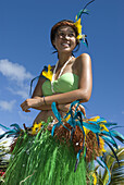 female dance at Constitution Day Festival parade, Avarua, Rarotonga, Cook Islands