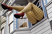 America, Amusing, Ashbury, Beautiful, California, Color, Colour, Fishnet, Funny, Haight, Heel, Humor, Humorous, Humour, Leg, San francisco, Stocking, Usa, Victorian, Witty, V01-709385, agefotostock