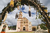 Arch, Arches, Architecture, Building, Buildings, Church, Churches, Cob, Cobs, Color, Colour, Conca Mission, Corncob, Corncobs, Daytime, Door, Doors, Exterior, Frame, Framing, Franciscan mission, Franciscan missions, Hang, Hanging, Mexico, Misión Concá, Mi