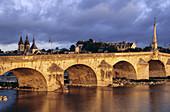 The Loire river at Blois, the bridge 'Jacques Gabriel', the church Saint-Nicolas and the palace of Blois, on the list of World Cultural Heritage sites of UNESCO, Loir et Cher province, France