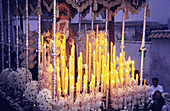 Procession of a religious float in the streets of Cordoba, during the holy week (Semana santa), Cordoba  Andalucia, Spain