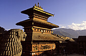 Pagoda dedicated to  Bhairav god (avatar of Shiva), Thaumadhi square, Bhaktapur, valley of Kathmandu, Nepal