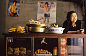 A small shop selling snacks and pastries, Bhaktapur, valley of Kathmandu, Nepal