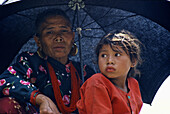 Woman and her daughter, Tamang ethnic group, Bhaktapur, Nepal