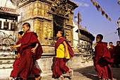 Young tibetan monks at the Swayambunath stupa, Kathamandu, Nepal